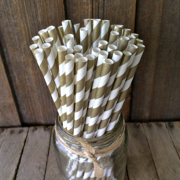 Paper 25 Straws - Gold Striped