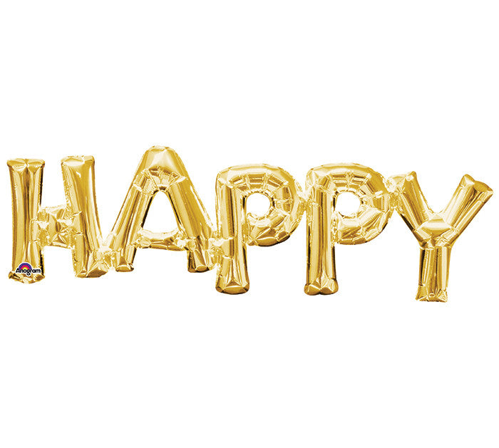 "Happy Phrase Gold 30"" Balloon"