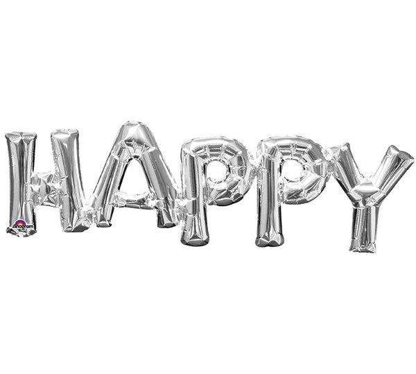 "Happy Phrase Silver 30"" Balloon"