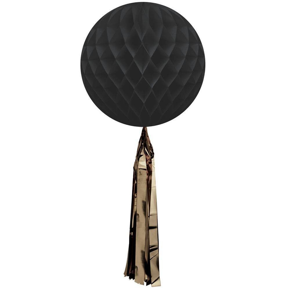 Black Honeycomb Ball with Tassel