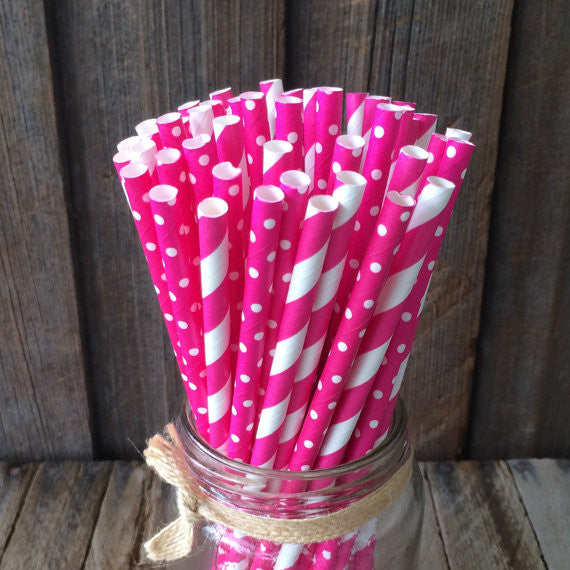 Paper 25 Straws - Hot Pink Combo