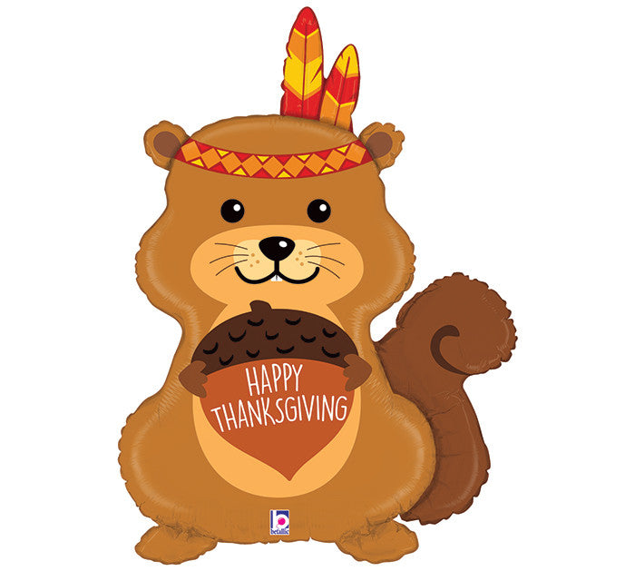 "35"" THANKSGIVING NATIVE AMERICAN SQUIRREL BALLOON"