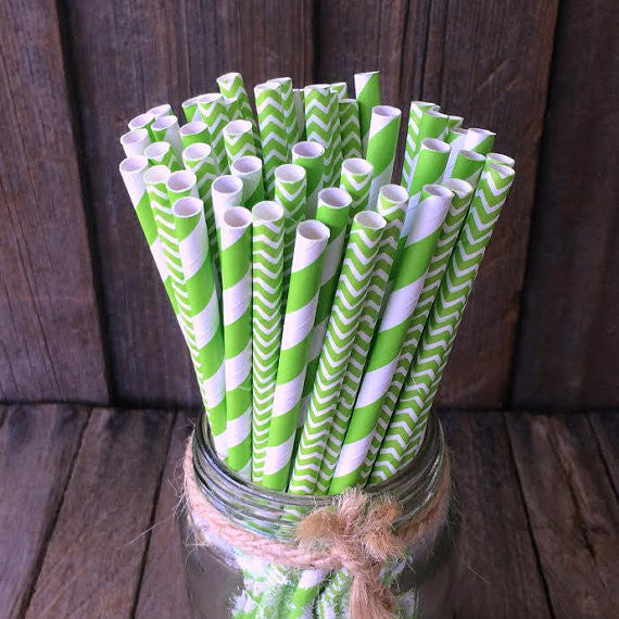 Paper 25 Straws - Apple Green Combo