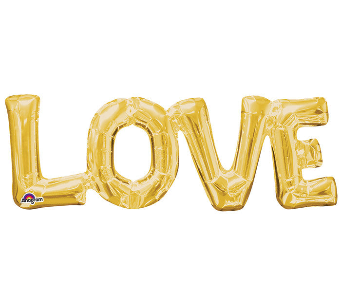 "Love Gold Letters Phrases 25"" Balloon"