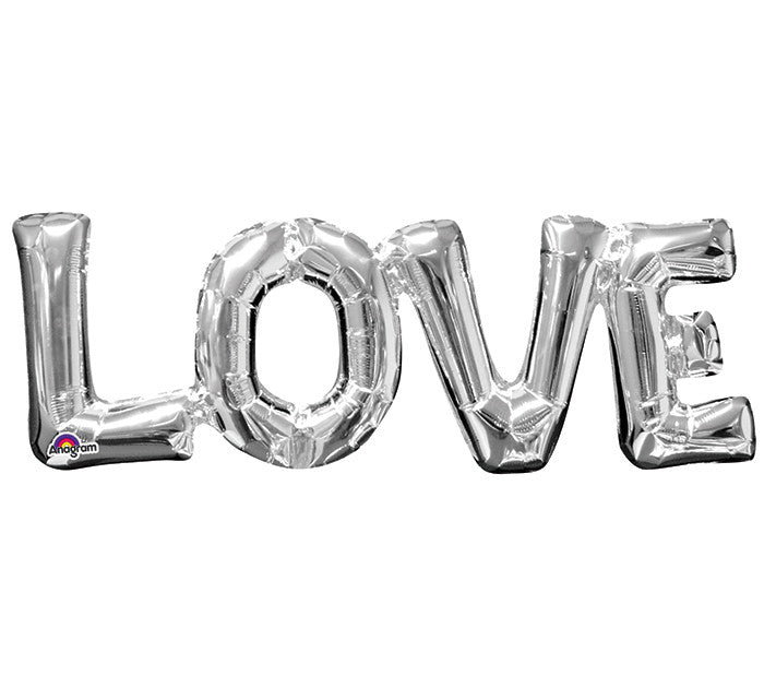 "Love Silver Letters Phrases 25"" Balloon"