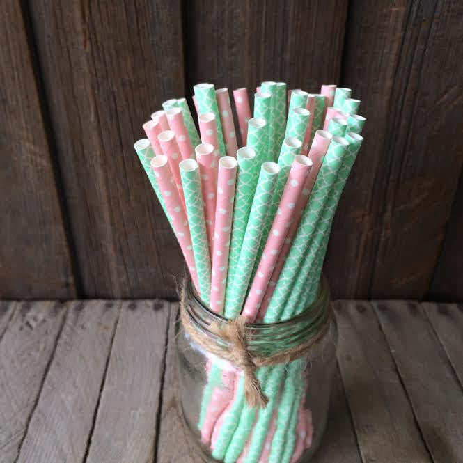 Paper 25 Straws - Mint & Pink Combo
