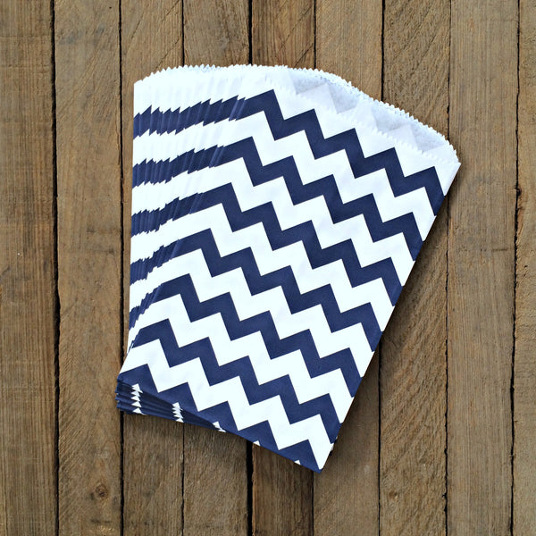 25 Candy Bags - Navy Chevron