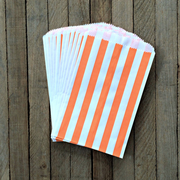 25 Candy Bags - Orange Stripes