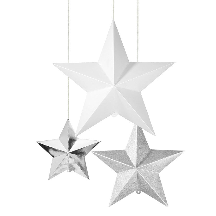 3 Silver Hanging Star Decoration