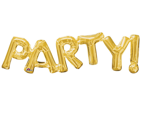 "Party! Gold Letters Phrases 33"" Balloon"