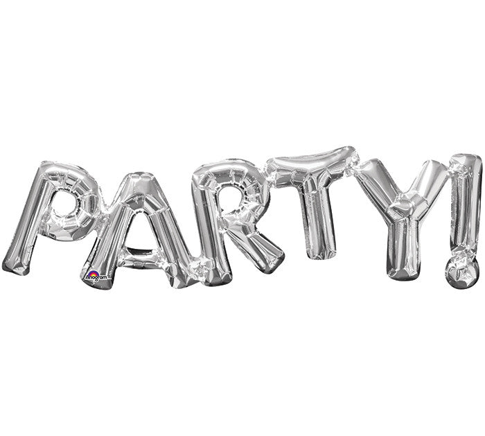 "Party! Silver Letters Phrases 33"" Balloon"