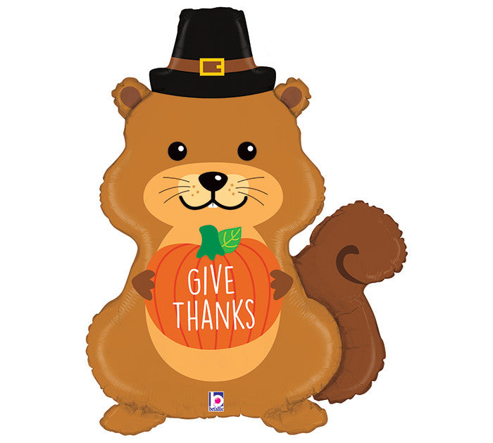 "35"" THANKSGIVING PILGRIM SQUIRREL BALLOON"
