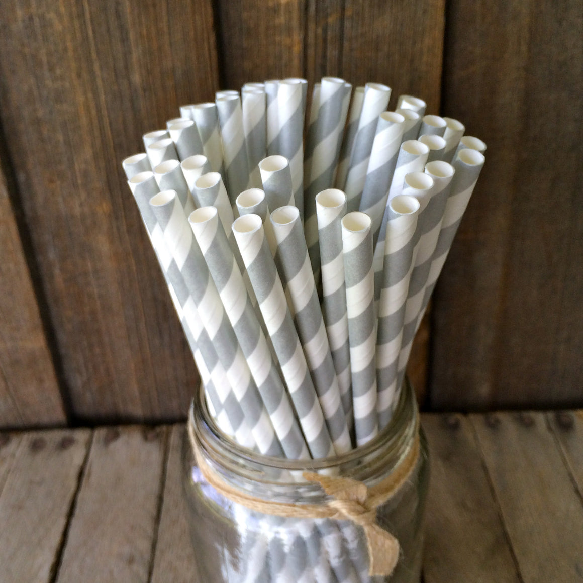 Paper 25 Straws - Silver Stripes
