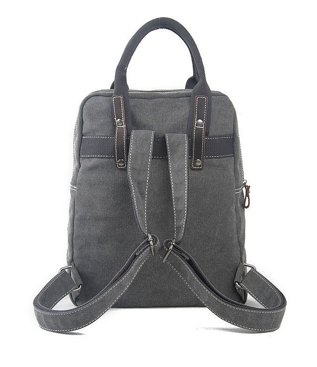 Grey canvas leather backpack