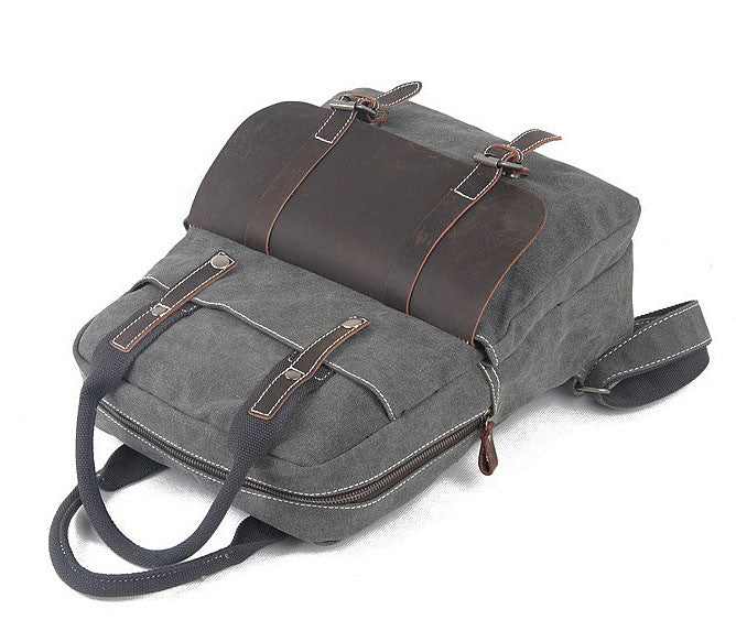 Grey canvas leather camera bag backpack