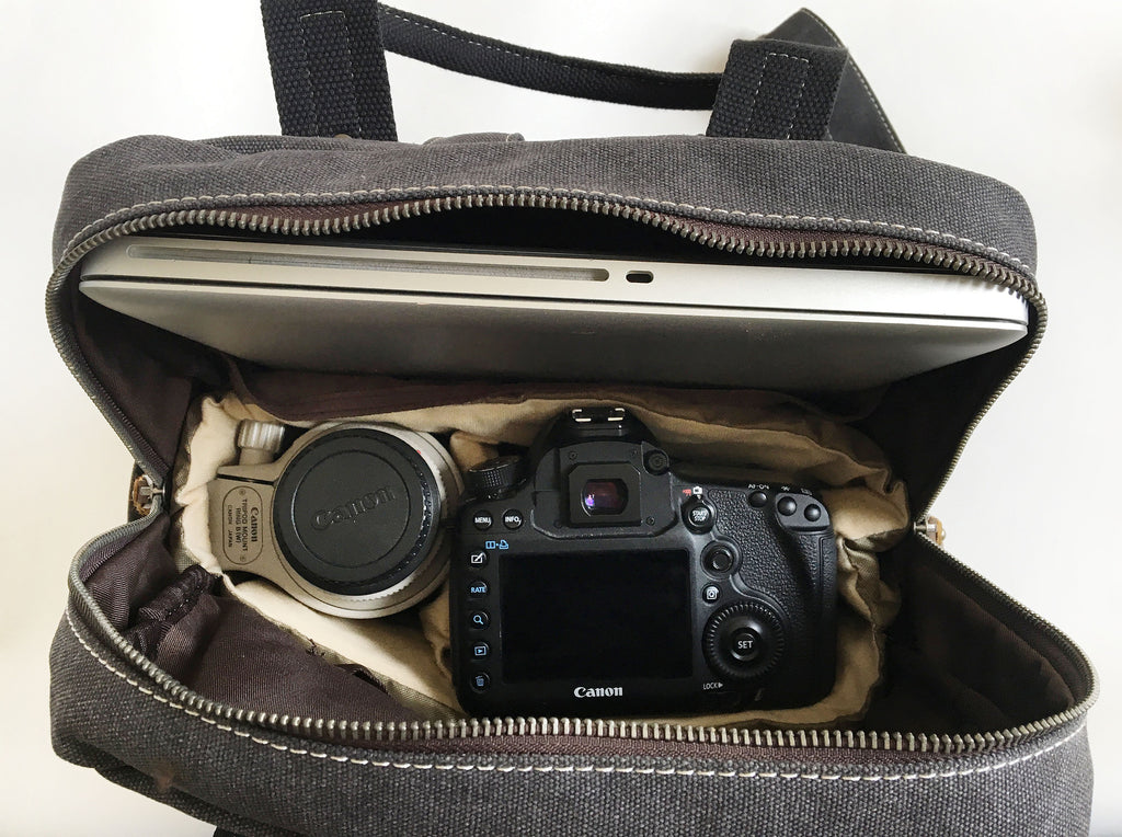 Grey canvas leather camera bag with interior removable panels