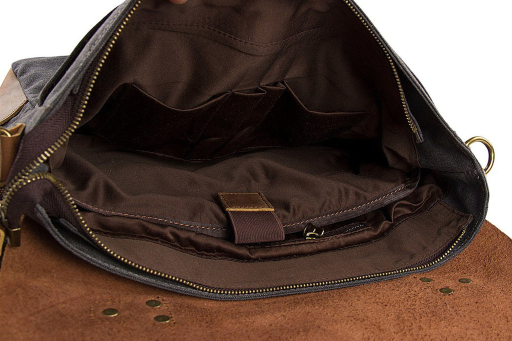 Interior of canvas leather camera bag
