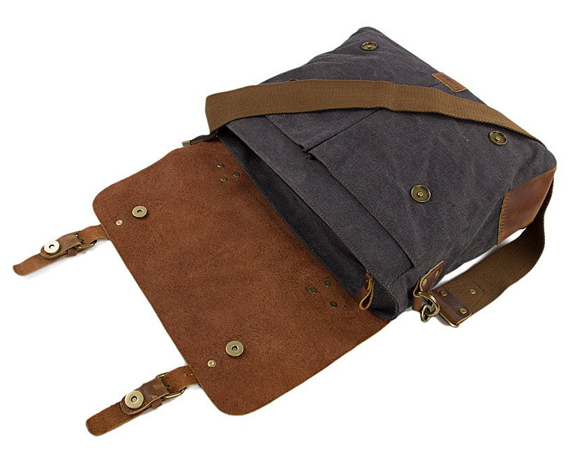 Messenger style camera bag made from canvas and leather
