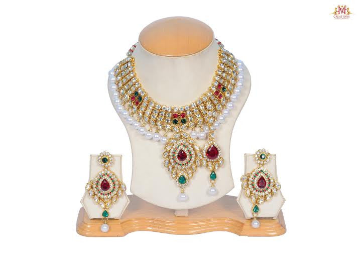 Meenakari red and green pearl