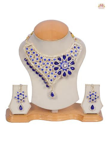 White and blue pearl jewel set