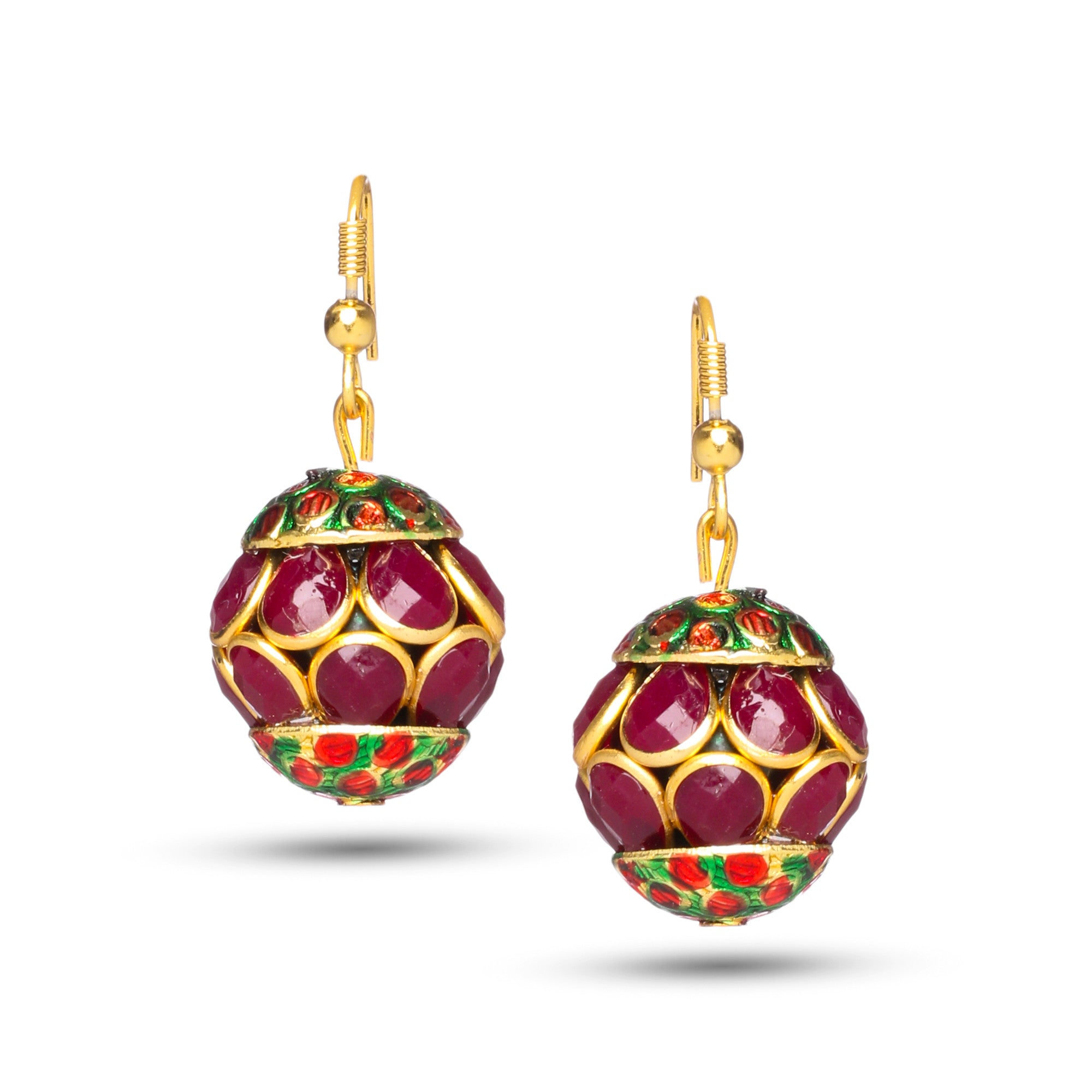 Traditional Rajasthani Ruby Red Faceted Stone Studded Earrings