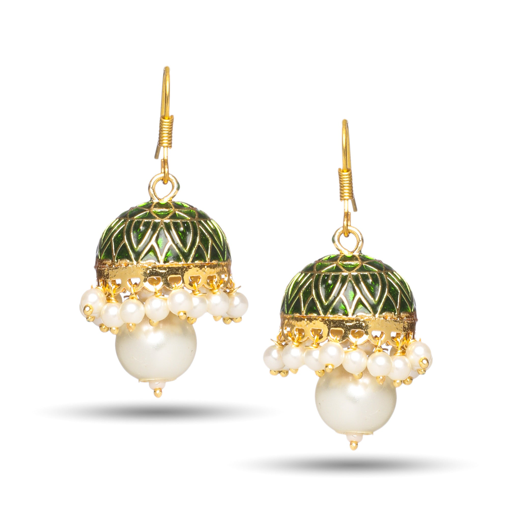 Rajasthani Meenakari wih Pearl Jhumka Earrings