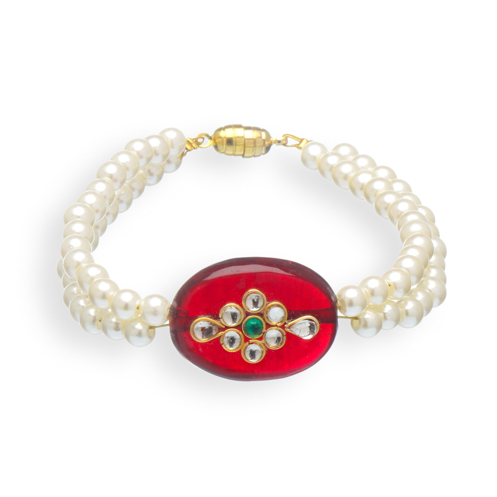 Traditional Double Layer Pearl and Polki Stone Bracelet
