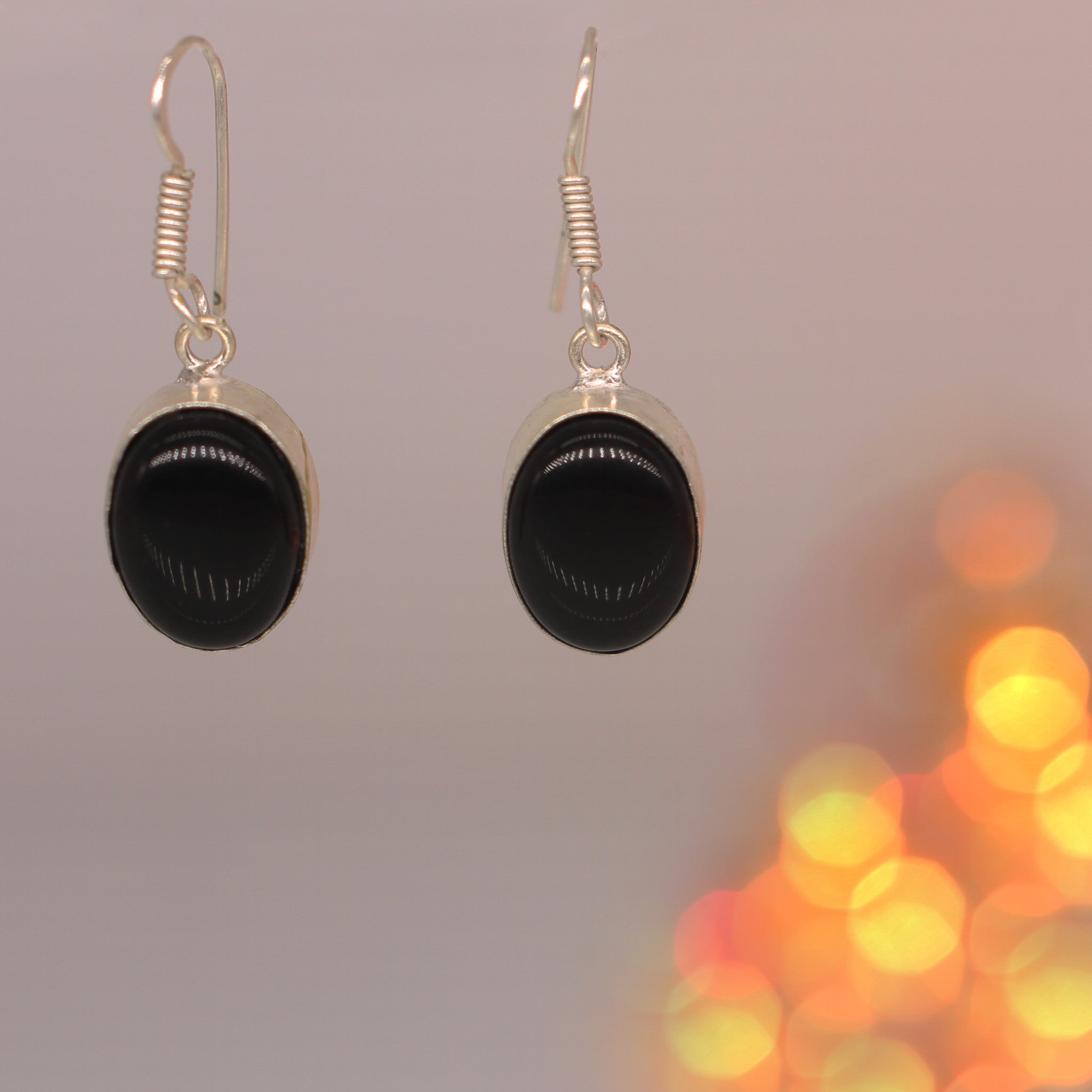 Black Stone Oval Drop Earrings