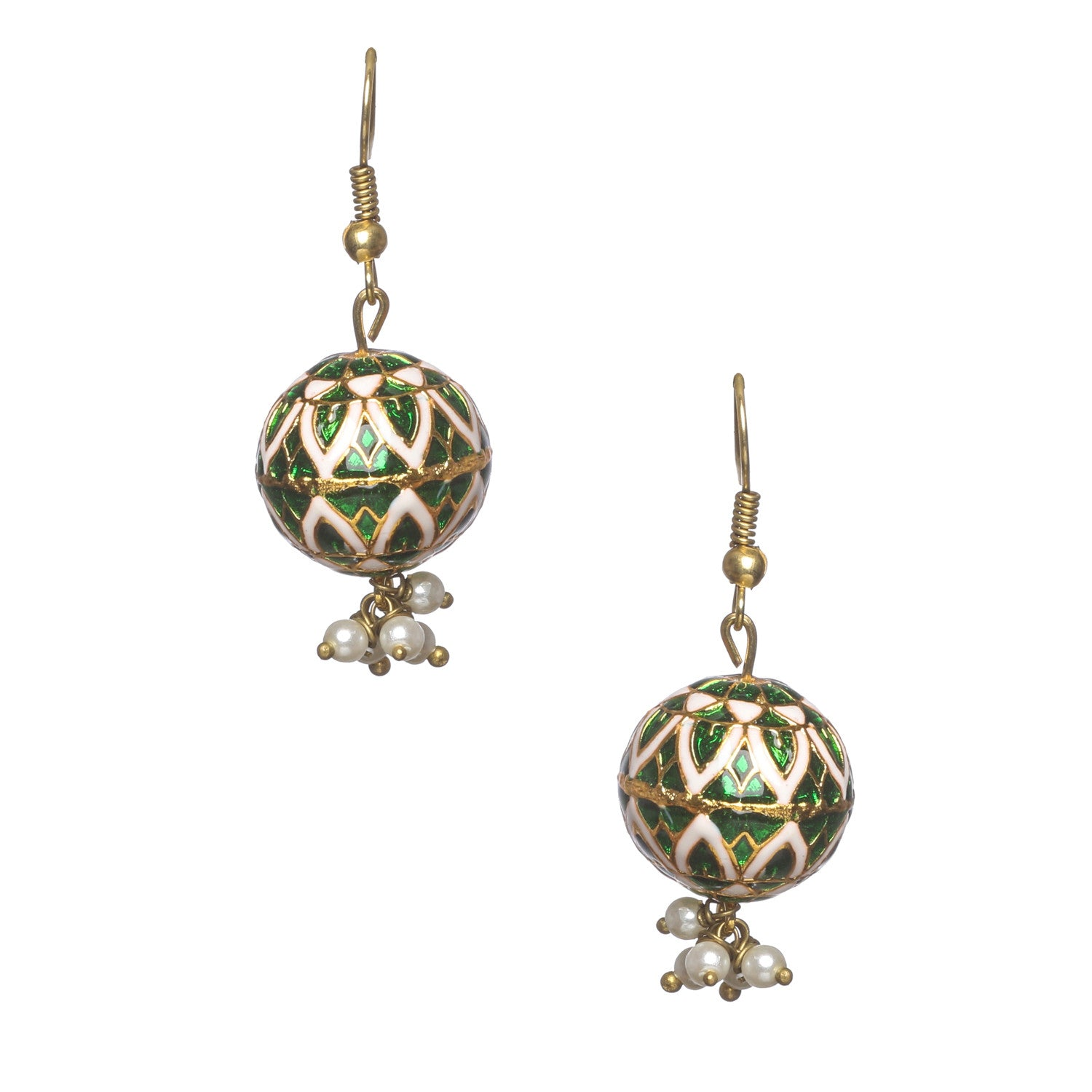 Green and white rounded meenakari earings with round white motis
