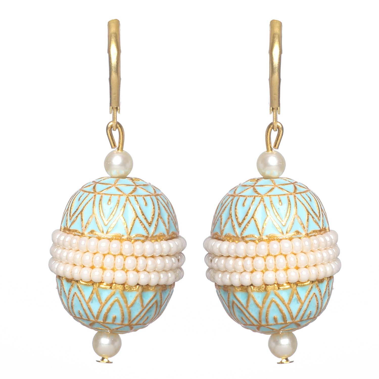 White and blue meenakari and moti earrings