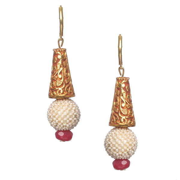 Antique gold dangles with pearl and stone