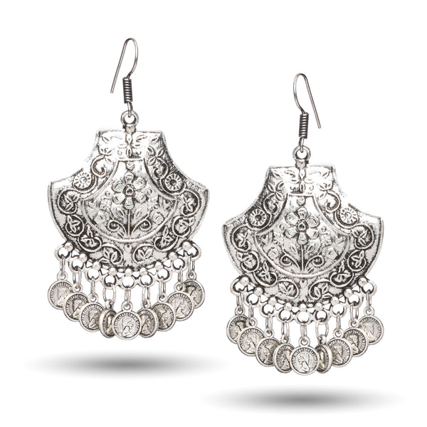 Antique Oxidised Silver Jhumki with Coin Dangle Earrings