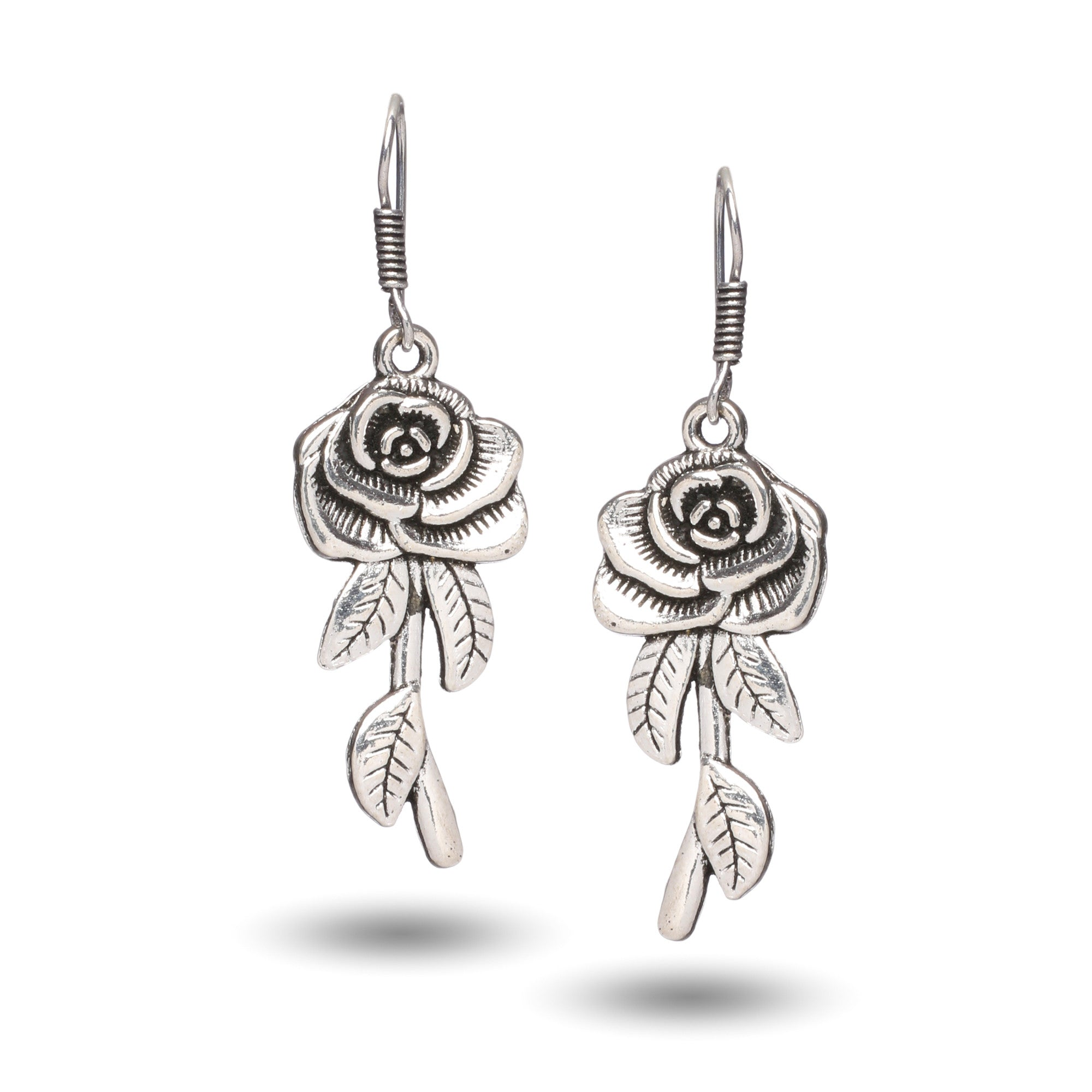 Oxidised Silver Rose Design Dangle Earrings