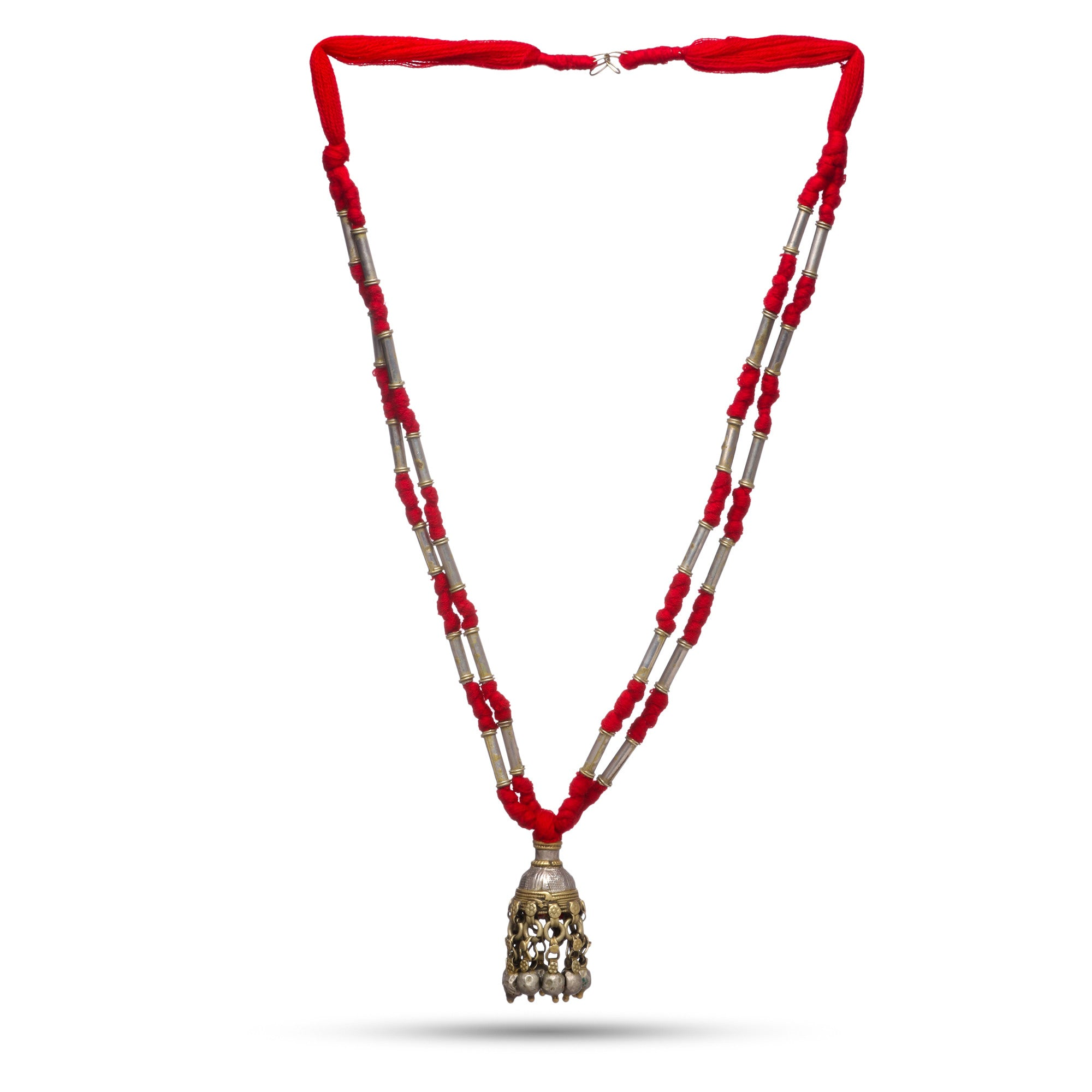 Tribal bell pendant with red thread chain