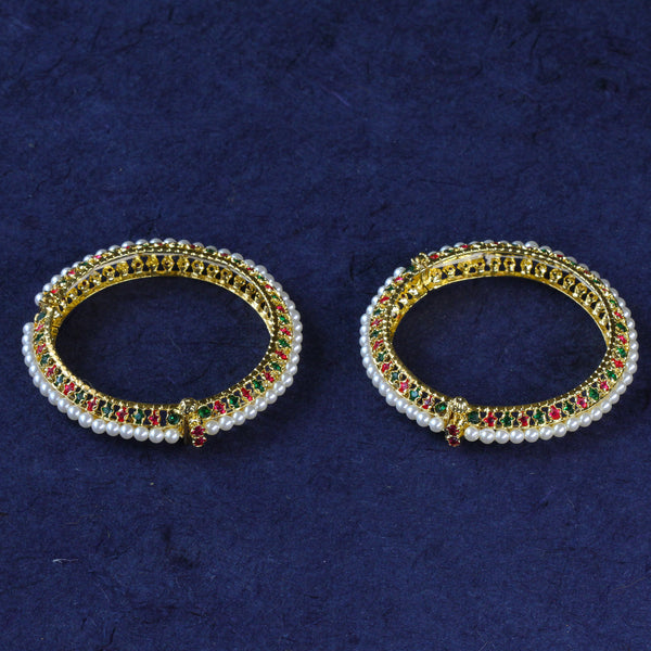 Traditional Floral Pearl and Ruby Studded Bangles