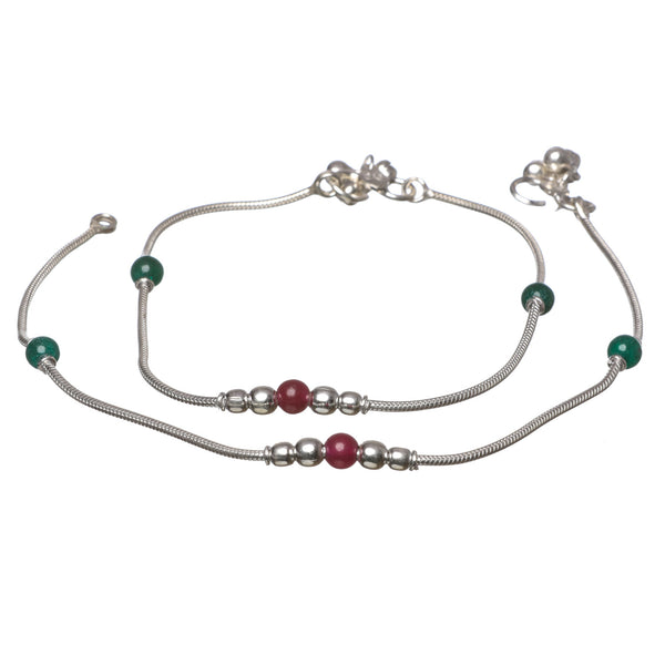 Pure silver Bombay payal with red and green beads