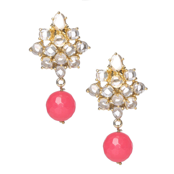 Beautiful earrings with pink and white stones