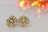 Golden Polki Diamond Stud Earrings