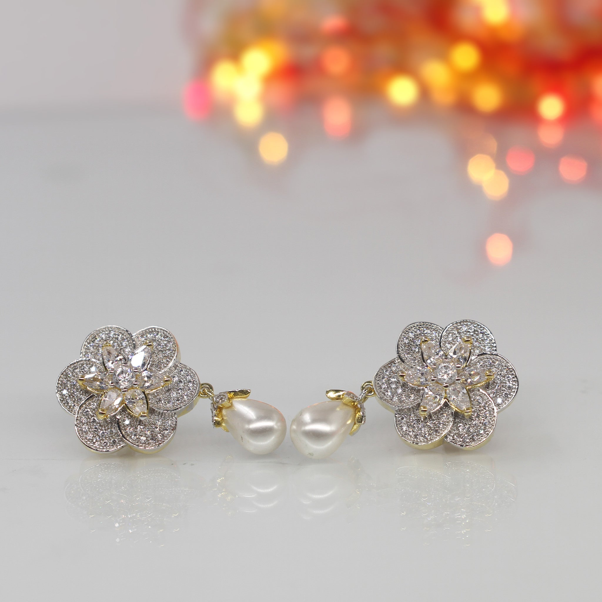Contemporary Floral Diamond and Pearl Drop Earrings