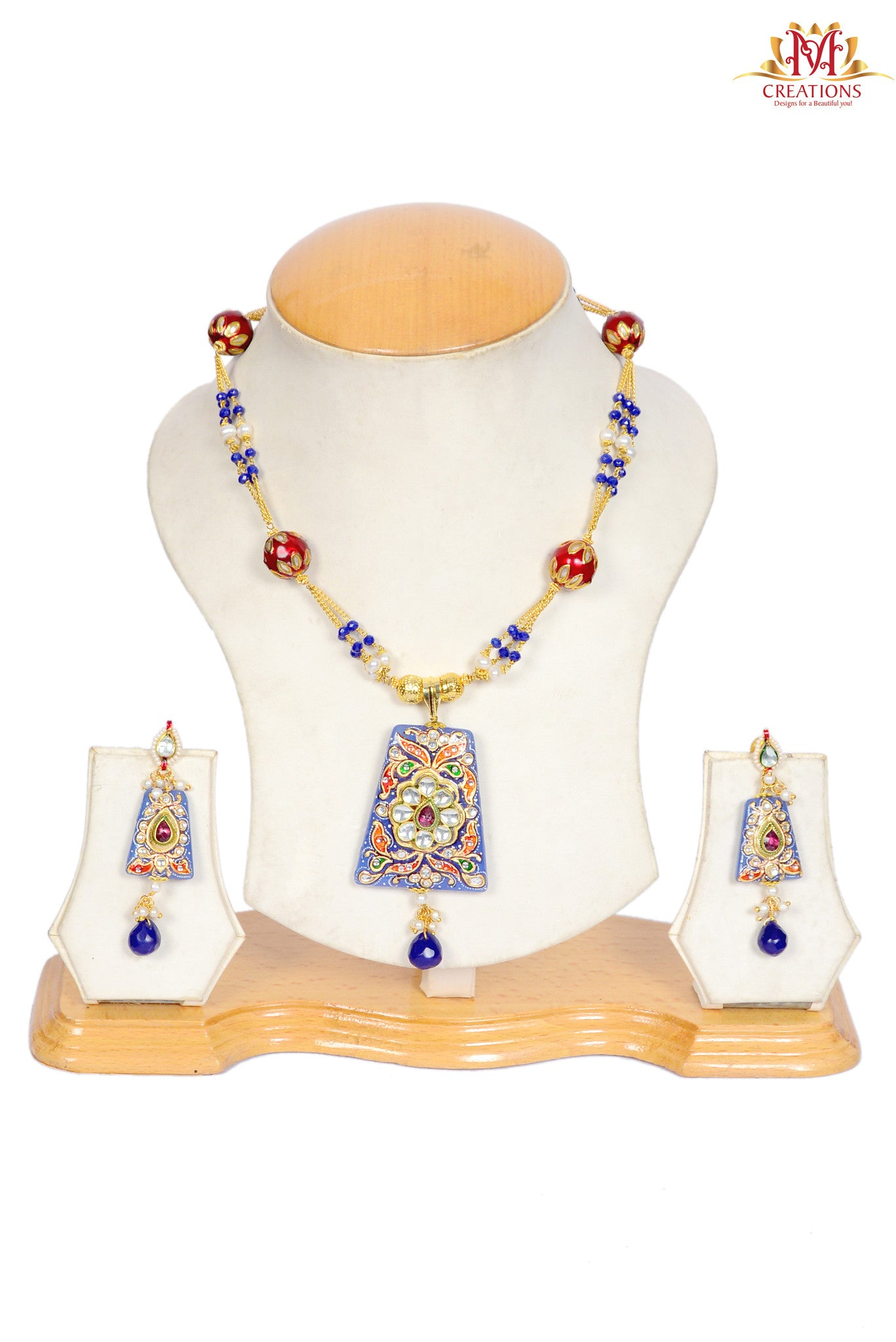 Kundan work necklace with red and blue beads