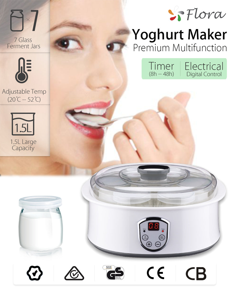 Flora Yogurt Maker Yoghurt Maker 7 Glass Jars Automatic & Rice Wine Machine FDA?? Ferment Jars Adjustable Temp 20 C -- 52 C 1.5L Large Capacity Yoghurt Maker Premium Multifunction Timer Electrical 8h -- 48h Digital Control