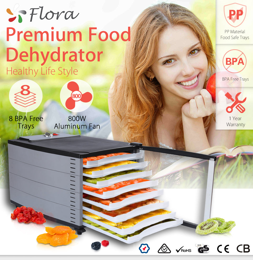 Flora Mechanical Food Dehydrator Healthy Life Style Options 8 BPA Free Trays 10 BPA Free Trays 800W Aluminum Fan PP Material Food Safe Trays 12 Months?? Warranty