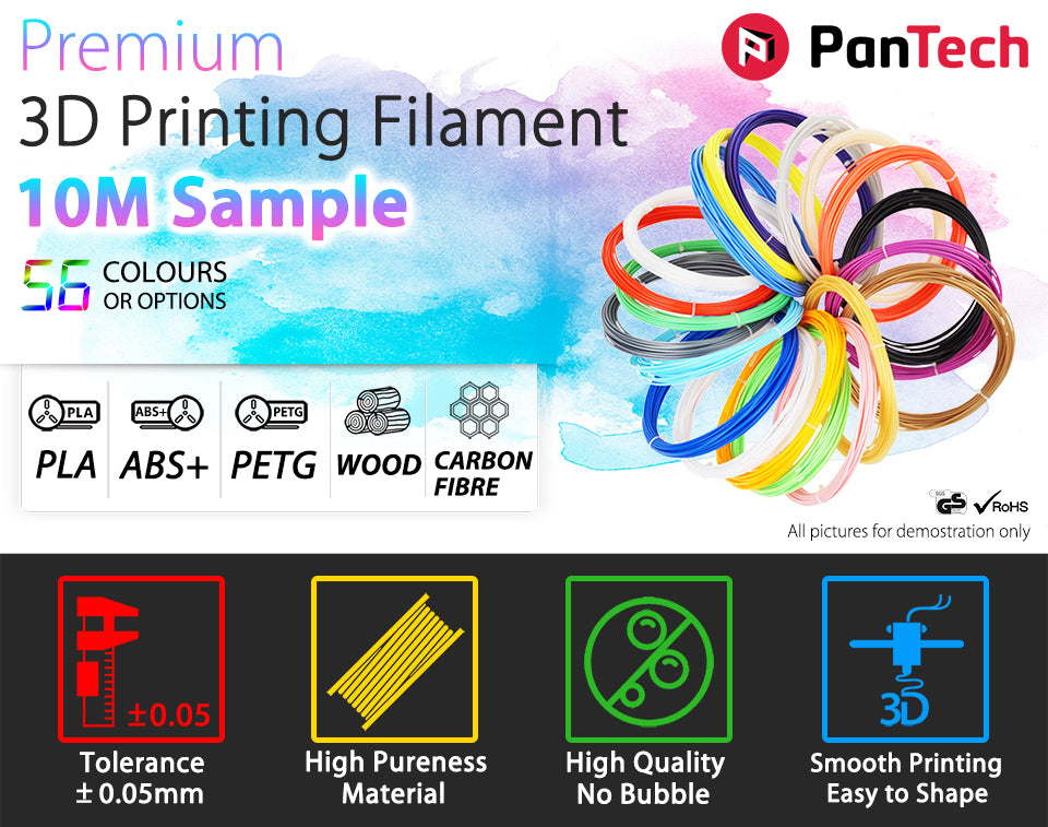 PanTech PLA ABS+ PETG WOOD CARBON BIBRE Premium 3D Printing Filament 10M Sample 56 colours or options Tolerance _ 0.05mm High Pureness Material High Quality No Bubble Smooth Printing Easy to Shape