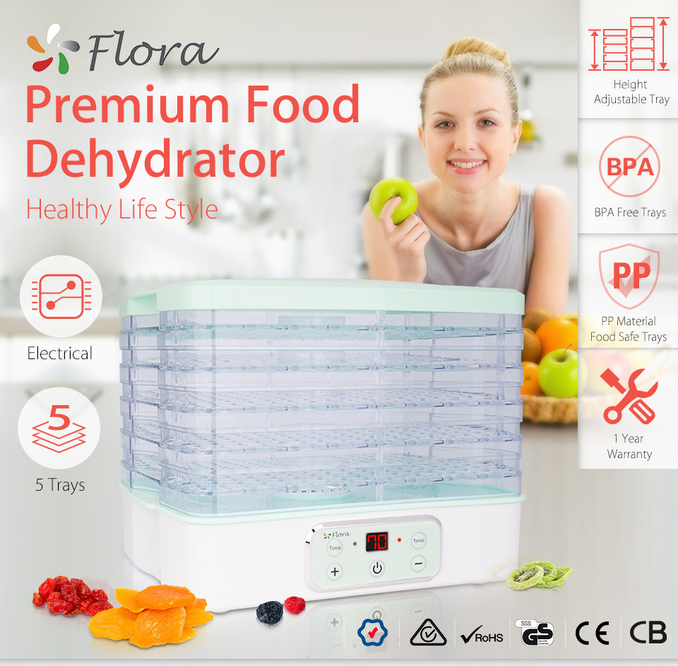 Premium Food Dehydrator Healthy Life Style Options 5 or 7 Trays Mechanical Electrical Height?? Adjustable Tray BPA Free Trays PP Material Food Safe Trays