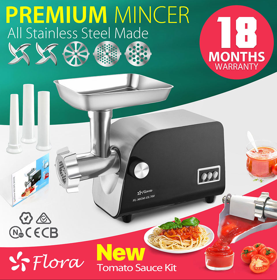 Flora Mincer Meat Grinder PREMIUM mincer All Stainless Steel Made 18 Months Warranty new tomato sauce kit