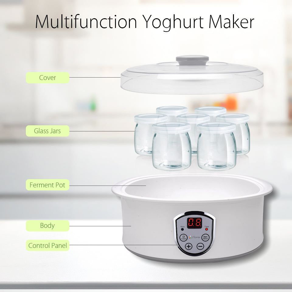 Flora Yogurt Maker Yoghurt Maker 7 Glass Jars Automatic & Rice Wine Machine FDA Multifunction Yoghurt Maker Cover?? Glass Jars Ferment Pot Body Control Panel
