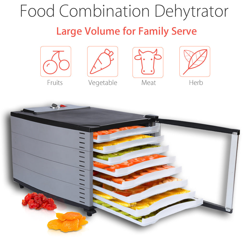 Flora Mechanical Food Dehydrator Food Combination Dehytrator Large Volume for Family Serve Fruits Vegetable Meat Herb