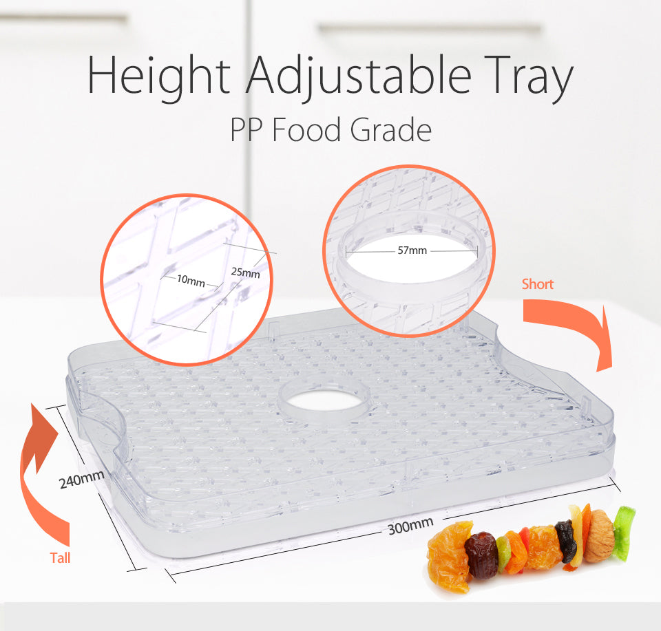 Premium Food Dehydrator Healthy Life Style Height Adjustable Tray PP Food Grade Short Tall