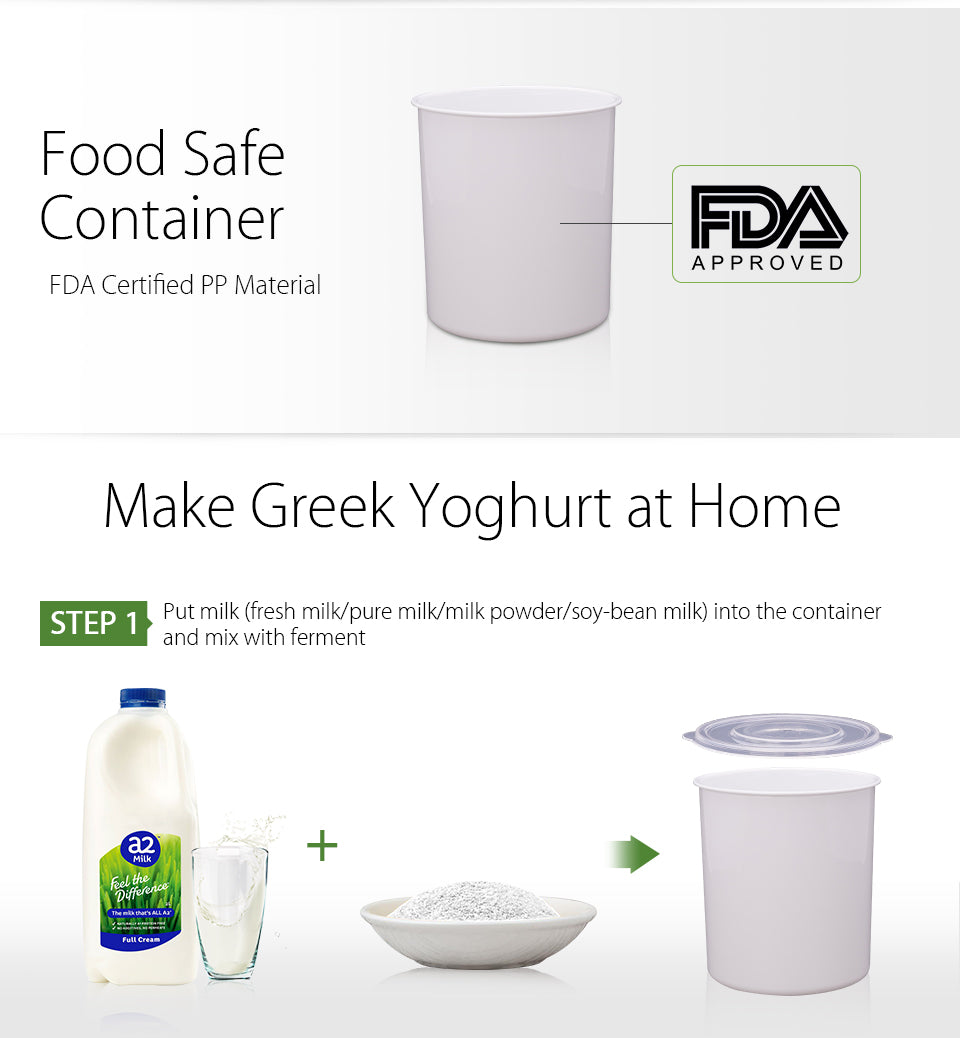 2018 Flora Greek Yogurt / Yoghurt Maker Automatic / Rice Wine Machine 2L FDA APP food safety container FDA Certified PP material approved