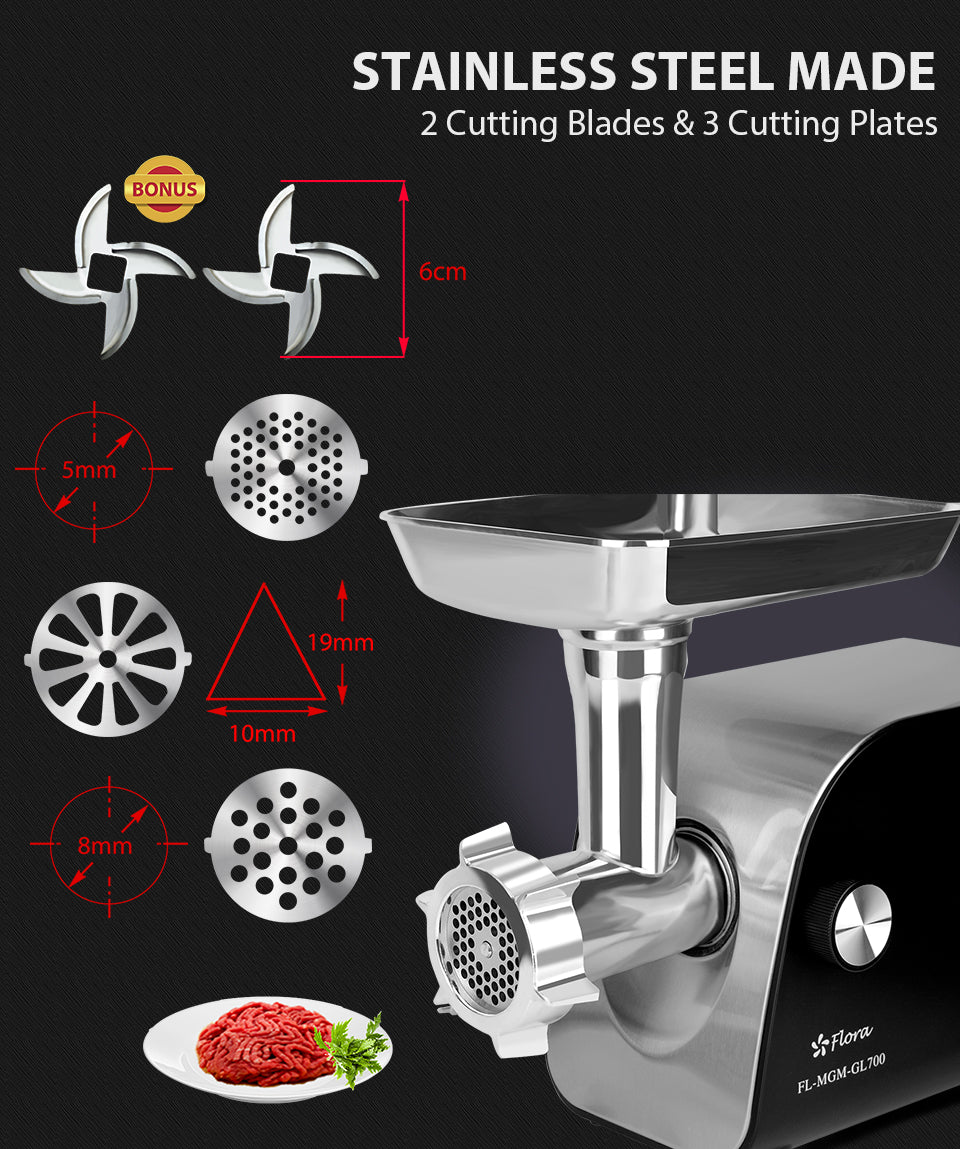 Stainless Steel Made 2 Cutting Blades & 3 Cutting Plates bonus size